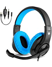 BlueFire PS4 Gaming Headset, Bass Stereo Over-Ear Gaming Headphones, Kids Headphones with Microphone for Study/Online Course, 3.5mm Stereo Gaming Headset for PS4/PS5/Xbox One/Nintendo Switch/PC/Tablet(Blue)