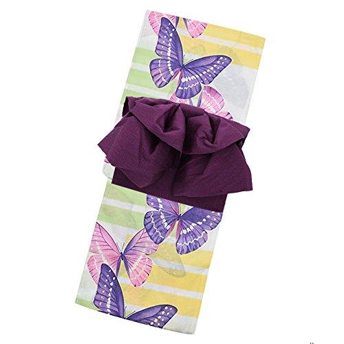 咽頭よく話されるつぶやき[KIMONOMACHI] 作り帯 浴衣セット「パープル 蝶」F