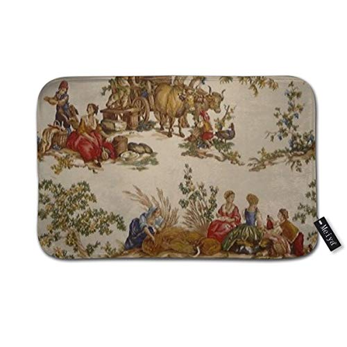 (French Country Toile Print MoJo Doormat Floor Mat with Non-Slip Backing Bath Mat Rug Funny Home Decor 23.6