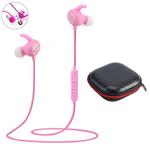 Bluetooth Headphones with Magnetic Connection Earbuds,Stereo Wireless Earphone with Built-in Mic, V4.1 Sport Fashionable Design Noise-Cancelling Earhook Headset for All Phones (Pink)