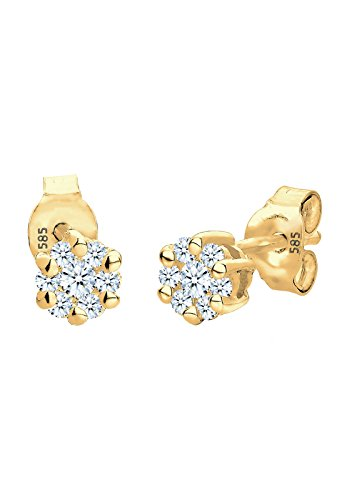 DIAMORE - Boucles d'oreilles - Or jaune 14 cts - Diamant 0.3 cts - 0302921914