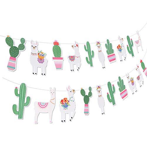 (Llama Cactus Party Supplies Banners - Mexican Fiesta/Cino De Mayo Llama Cactus Baby Shower/Birthday Party Decorations Decor)