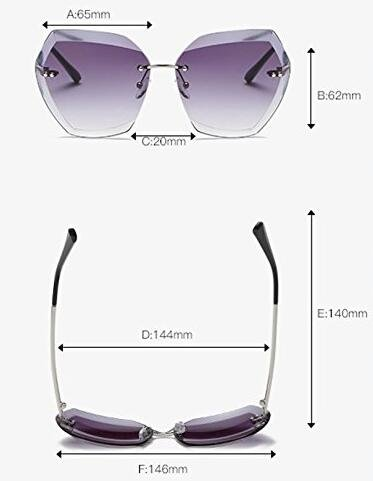 para Sun Gafas Glasses Blanco sol sin montura de mujeres Cutting UV400 tamaño Dorado Lens Huicai Diamond de gran sin marco FZfXf