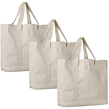Pack of 3 - Heavy Duty Cotton Canvas Twill Travel Tote Bags Large Thick  Reusable Blank Tote Bags - Shopping Grocery Bags Eco Friendly Canvas Bags  in Bulk ... 325c4c0ec8861