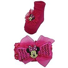 Disney Minnie Mouse Hot Pink Headband and Socks set - 0 - 6 Months [5014]
