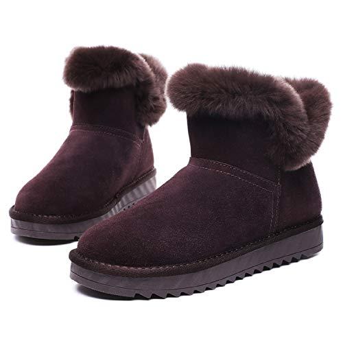 Chaude Plates Suede Neige mastery H Femme Marron Doublure Boucle Boot Fourrure De Bottes Hiver Chaussures Courtes w1wq0R6