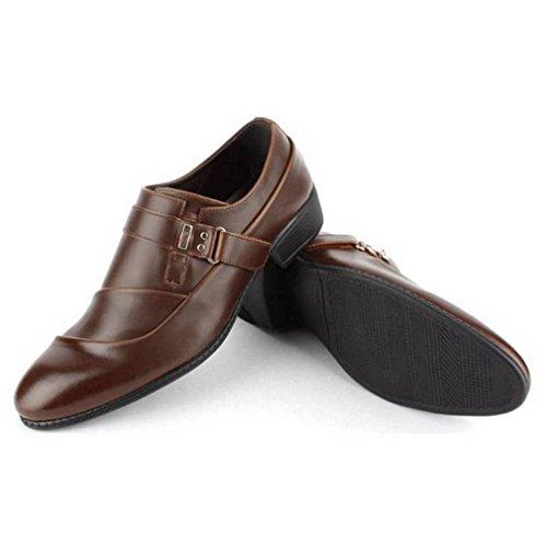 Epicstep Heren Sylish Lederen Monniksriem Jurk Formele Zakelijke Oxfords Loafers Schoenen Bruin