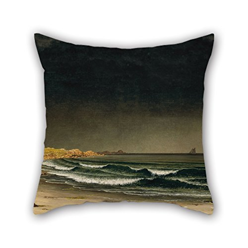 Hsdfnmnsv Oil Painting Martin Johnson Heade - Approaching Storm- Beach Near Newport Throw Pillow Covers 18 X 18 Inches / 45 by 45 cm Gift Or Decor for Boys Girls Her Coffee House Divan Gril Friend -