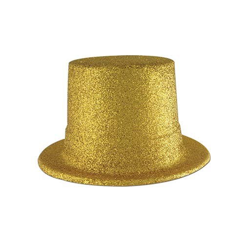 Glittered Top Hat (gold) Party Accessory (1 count) ()