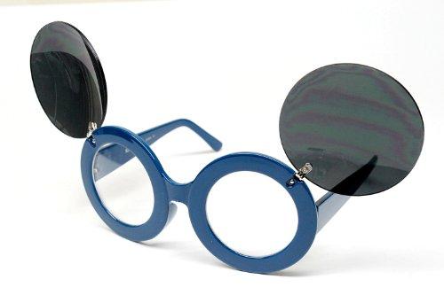 Round Circle Retro Party Flip up Sunglasses Large V102 Mickey (turquoise, black)