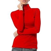 KalvonFu Women's Cotton Warm Basic Slim Fit Long Sleeve Turtleneck T-Shirt