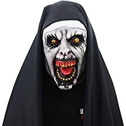 The Nun Devil Valak Mask Halloween Masks Deluxe Latex Scary Full Head (Full Coverage)