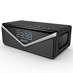 25W Portable Bluetooth Speakers with Lights & Enhanced Deep Bass, 15W Subwoofer, Bluetooth 4.2,10h Play Time, Built-in mic, FM Radio and Dual Alarm Clock, for iPhone, Samsung (Black)