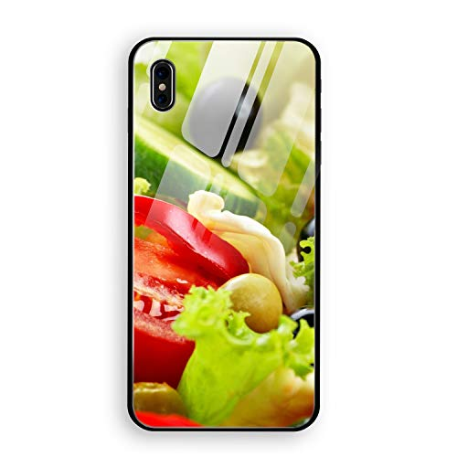 Salad Vegetables Mayonnaise Olives iPhone X Case Enhanced Grip Premium Scratch Resistant Protective Tempered Glass Cases
