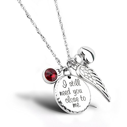 I Still Need You Close to Me Cremation Jewelry Urn Necklace Pet Memorial Ash Holder Necklace with Birthstone Crystal and Angel Wing Charm Sympathy gift memorial necklace