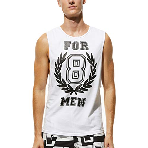 FarJing Men's Summer Recreational Printed Vest Fashion Outdoor Sport Vest Blouse(M,White