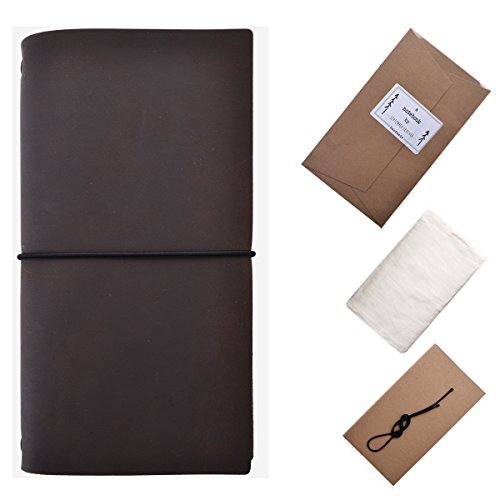 Refillable Handmade Leather Journal Notebook Gifts for Men/Women/Travelers/Students - Coffee Brown