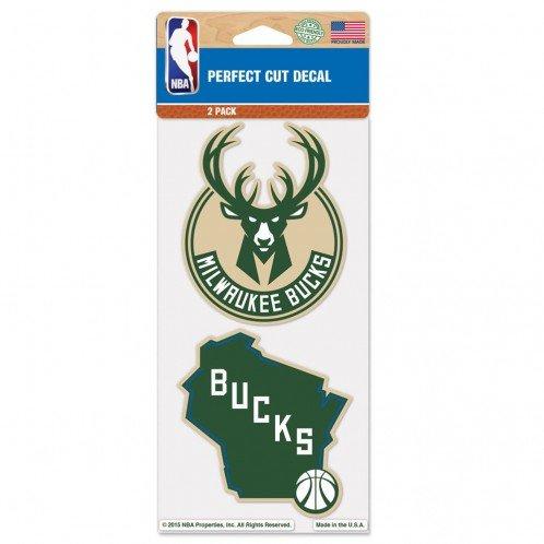 "WinCraft NBA Milwaukee Bucks Perfect Cut Decal (Set of 2), 4"" x 4"""