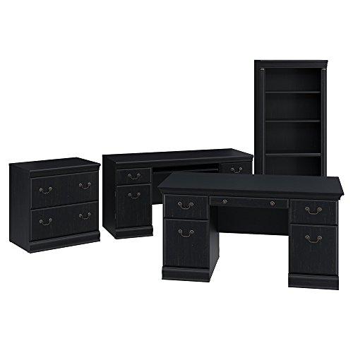 Bush Furniture Birmingham 60W Executive Desk, Credenza, Lateral File Cabinet and 5 Shelf Bookcase in Antique Black (Desk Executive Antique)