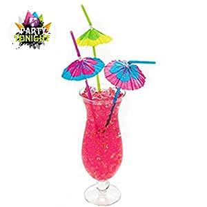 100 Pack Party tonight Cocktail Party Umbrella Tropical Drink Straws - Great for Parties, Drinks, Cocktails & More. Mix Colored Multipack. Bring More Fun to Your Drinks (100, Multi)