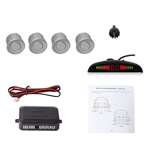 EKYLIN Car Auto Vehicle Reverse Backup Radar System with 4 Parking Sensors Distance Detection + LED Distance Display + Sound Warning (Silver Color)