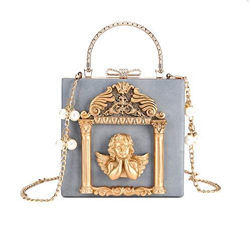 matrimoni blu club angelo Pochette donna da mano metallo bianco borsa di frange per in banchetti con notturno Lxmhz a borsa da banchetto U8FHxw81