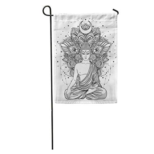 RS-pthrAF Garden Flag Sitting Buddha Statue Over Ornate Mandala Inspired Pattern Esoteric Vintage Home Yard House Decor Barnner Outdoor Stand 12x18 Inches Flag