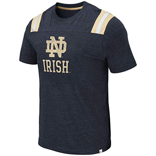 Colosseum Men's NCAA Men's Relaxed Fit Vintage Football T-Shirt-Dual Blend-Notre Dame Fighting Irish-Navy-Large (Vintage Damen)
