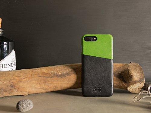 alto Handmade Premium Italian Leather Wallet Case for Apple iPhone 8 Plus / iPhone 7 Plus Metro (Lemon/Raven) by Alto (Image #6)