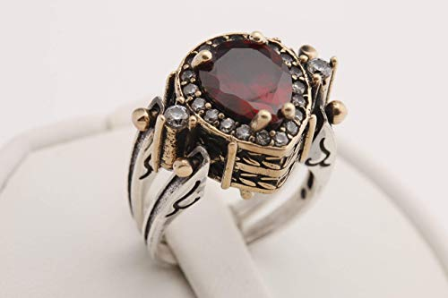 - Turkish Jewelry Handmade 2 rings in 1 ring Reversible Drop Shape Pear Cut Shiny Ruby and Black Onyx Topaz 925 Sterling Silver Ring Size All
