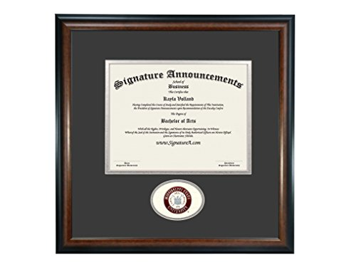 Signature Announcements Mississippi State University (MSU) Doctorate Graduation Diploma Frame with Sculpted Foil Seal (Matte Mahogany, 20 x 20)