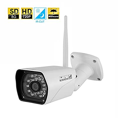 Outdoor Security Camera INKERSCOOP 720P IP Security Monitor Wireless WiFi Camera Waterproof Security Surveillance System With Night Version IP Camera Outdoor&Indoor Bullet Monitoring with 8G SD Card
