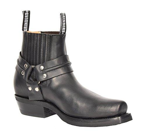 House of Luggage Hommes Cuir Véritable Enfiler Bottes Chelsea Style Cowboy Bout Carré Chaussures Cheville HLG07REL Noir