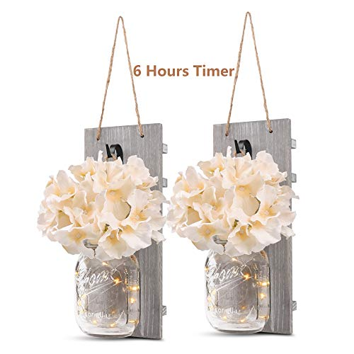 GBtroo Rustic Wall Sconces - Mason Jars Sconce, Rustic Home Decor,Wrought Iron Hooks, Silk Hydrangea and LED Strip Lights Design 6 Hour Timer Home Decoration (Set of 2) (Shabby White Mirror Chic Long)