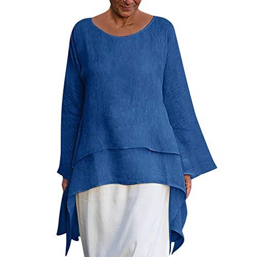Women Casual Asymmetrical Plus Size Long Sleeve Blouses O-Neck Tunics Shirt ()