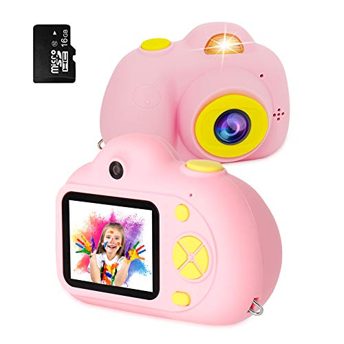 [16GB Memory Card Include] RegeMoudal Kids Digital Camera Gifts for Child Boys Girls,Mini Rechargeable Children Shockproof Digital Camcorders Little Kid Toys Gift 8MP with Battery 2 Inch,Pink