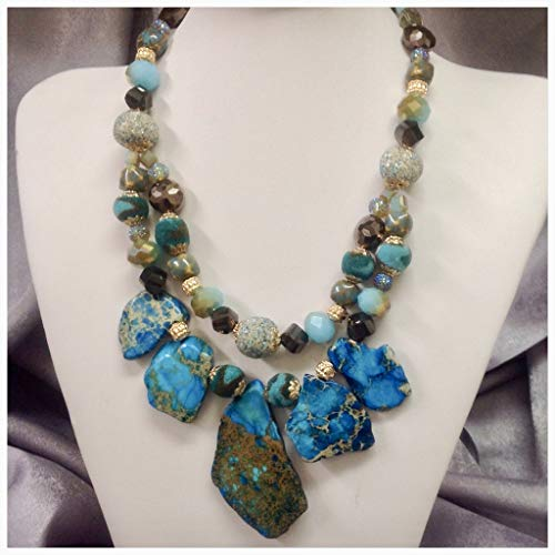 Ocean Blue Flat Jasper Gemstone Necklace Jasper Crystals Mixed Beads Necklace Freeform Jasper Pendant Necklace
