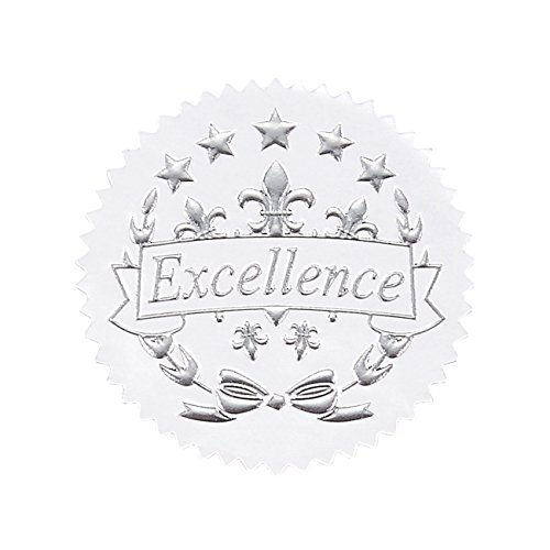 96 Award Stickers - Silver Certificate Seals, Excellence Star Stickers for Award Certificates (Embossed Labels)