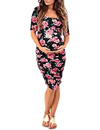 Women's Ruched Maternity Dress by Mother Bee - Made in USA