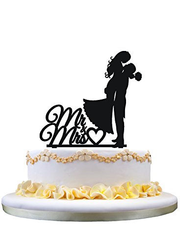 - Mr Mrs cake topper,Bride and Groom wedding topper for cake with heart