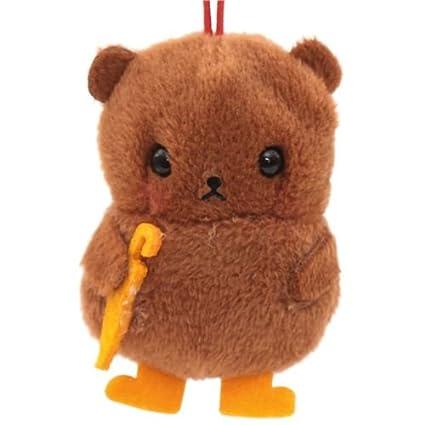 Colgante suave de peluche oso pardo paraguas naranja