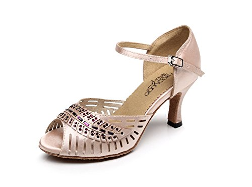 JSHOE Zapatos De Baile Latino Para Mujer Salsa / Tango / Chacha / Samba / Modern / Jazz Dance Sandals Tacones Altos,Pink-heeled7.5cm-UK5.5/EU38/Our39