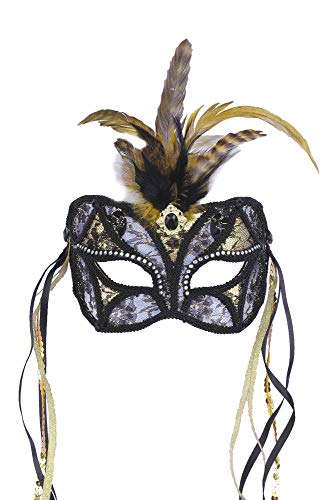 (Forum Mardi Gras Costume Masquerade Mask/Lace With Feathers and Ribbon, Black/Gold, One)
