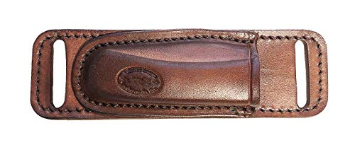 Western Images Leatherworks, Inc Buck 110 Folding Knife Horizontal Leather Sheath for Small of Back Carry-Right Handed (Brown) or Left Handed Cross Draw Carry