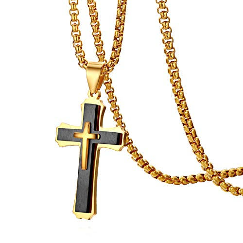 Cupimatch Herren Edelstahl Kreuz Anhänger, Halskette mit 55cm Halsband Männer Halsschmuck, Silber Gold