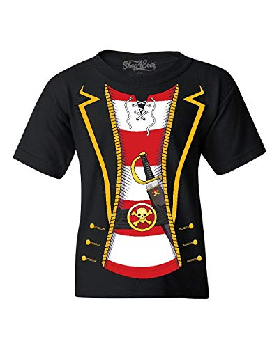 Shop4Ever Pirate Buccaneer Costume Stripe Youth's T-Shirt Youth Small Black 0 Stripe -