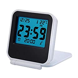 KOET Temperature ABS Ultra Slim Alarm Clock Portable Digital Display Clamshell Type(White)