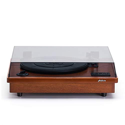 HOFEINZ Vintage Style Natural Wood Belt Driven Record Player with 3 Speed Built in Stereo Speakers, Bluetooth and Vinyl-to-MP3 Recording…