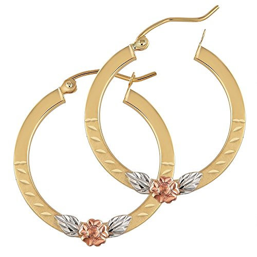 14k Tri Color Genuine Gold Hoop Earrings with roses for Women - Unique Real Hyperallergic Everyday Hoops