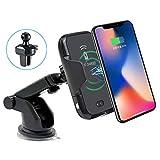 RtTech Car Wireless Charger, Cargador Inalambrico QI para Coche con sensor de infrarrojos, Auto Sujeción Soporte para teléfono celular con soporte de succión o ventilación aire, cargador de coche universal QI, 10W / 7.5W Carga Rápida para Samsung S10, S9, S9 +, S8, S8+, S7, S7 Edge, S6 Edge+, iPhone XS, XS Max, XR, X, 8 Plus, 8 y para Otros Dispositivos Habilitados QI